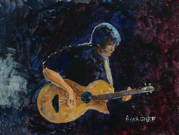Guitar Art Print featuring the painting Rock N Roll by Arline Wagner