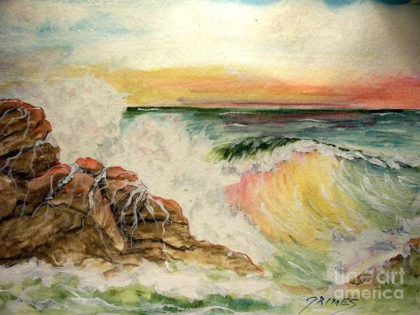 Ocean Art Print featuring the painting Sunset At Sea by Carol Grimes
