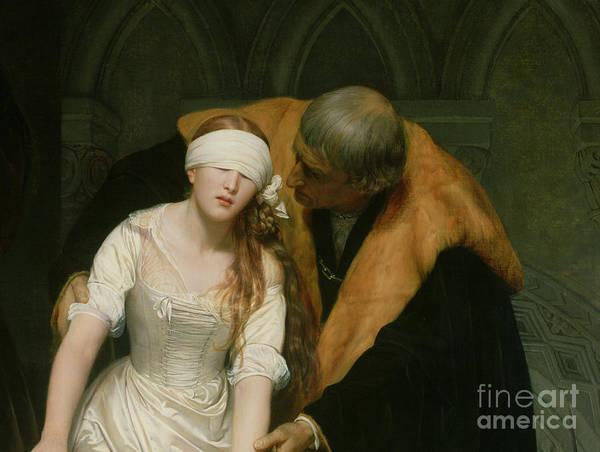 The Art Print featuring the painting The Execution Of Lady Jane Grey by Hippolyte Delaroche
