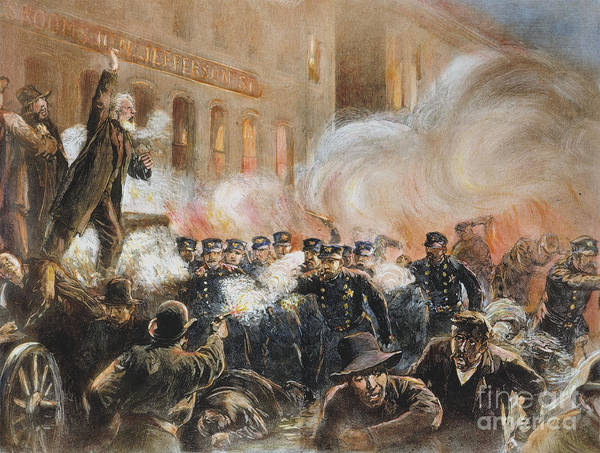 1886 Art Print featuring the photograph The Haymarket Riot, 1886 by Granger