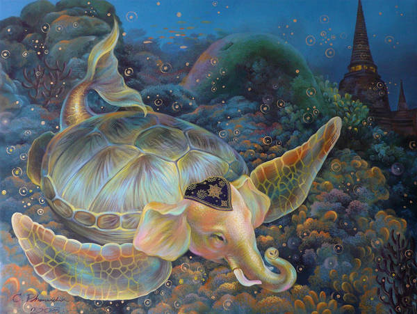 Surrealism Art Print featuring the painting The Light Of Buddhism by Chonkhet Phanwichien