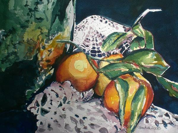 Oranges Art Print featuring the painting Three Oranges by Aleksandra Buha