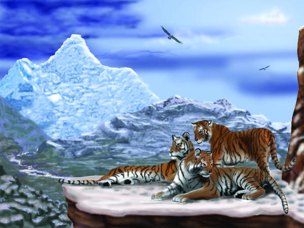 Tigers Art Print featuring the digital art Tigers On A Ledge by Larry Ryan