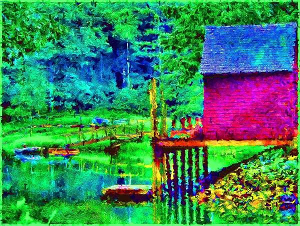 Boathouse Art Print featuring the painting 11052008a Boat House On The Inlet by Ed Immar