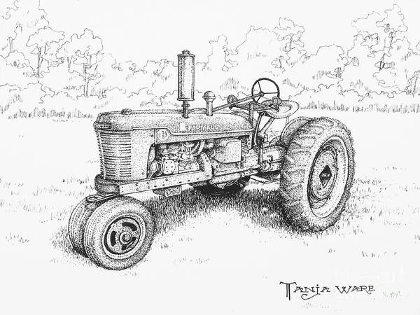 Vintage Tractor Art Print featuring the drawing 1942 Farmall by Tanja Ware