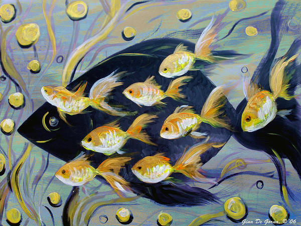 Fish Art Print featuring the painting 8 Gold Fish by Gina De Gorna