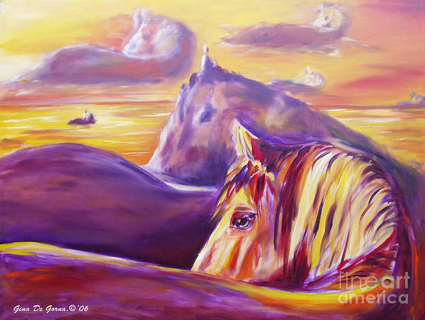 Horses Art Print featuring the painting Horse World by Gina De Gorna