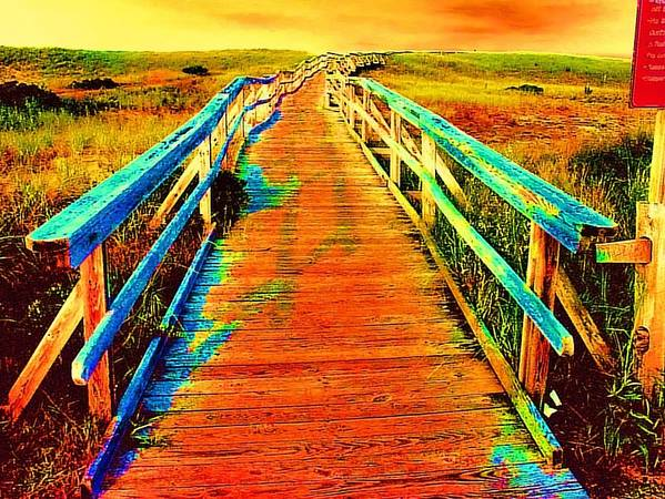 Endless Landscape Art Print featuring the painting 2355z Wooden Walkway by Ed Immar