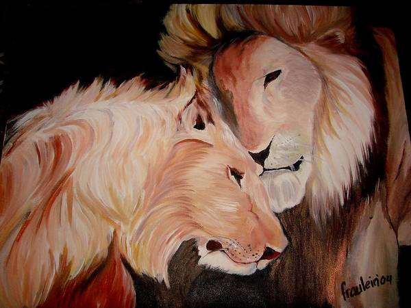 Lion Art Print featuring the painting Lion's Love by Glory Fraulein Wolfe