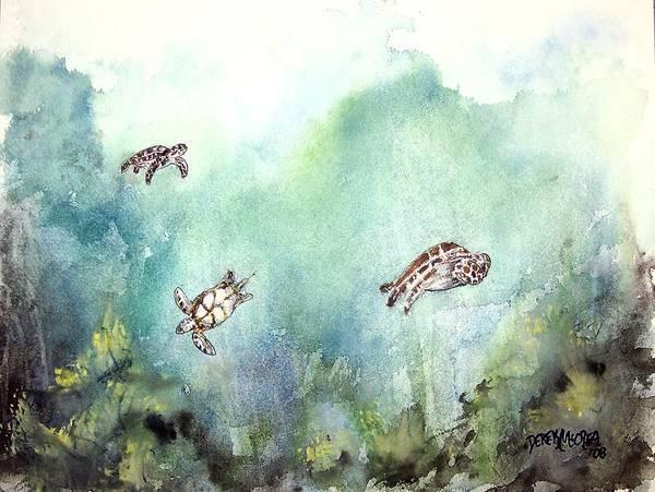 Turtle Art Print featuring the painting 3 Sea Turtles by Derek Mccrea