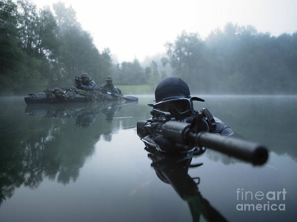 Special Operations Forces Print featuring the photograph Special Operations Forces Combat Diver by Tom Weber