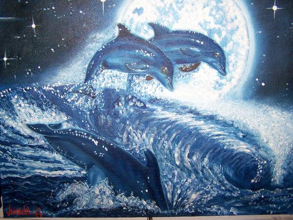 Dolphins Ocean Moon Seascape Water Stars Art Print featuring the painting Midnight Swim by Charles Vaughn
