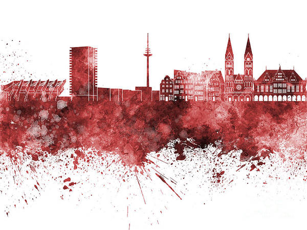 Bremen Skyline Art Print featuring the painting Bremen Skyline In Watercolor Background by Pablo Romero