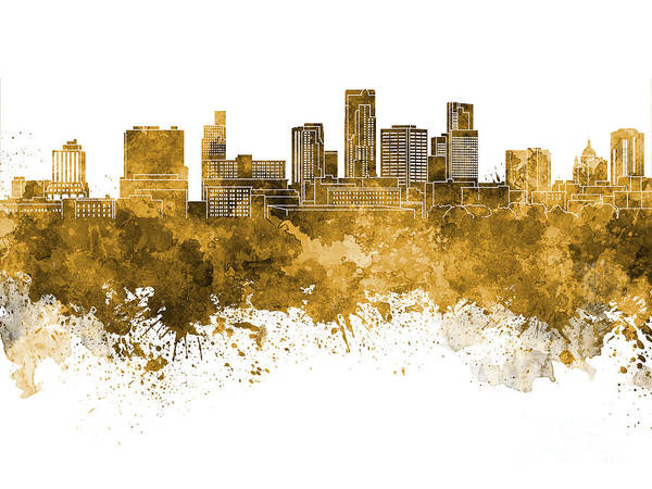 St. Paul Skyline Art Print featuring the painting St. Paul Skyline In Watercolor Background by Pablo Romero