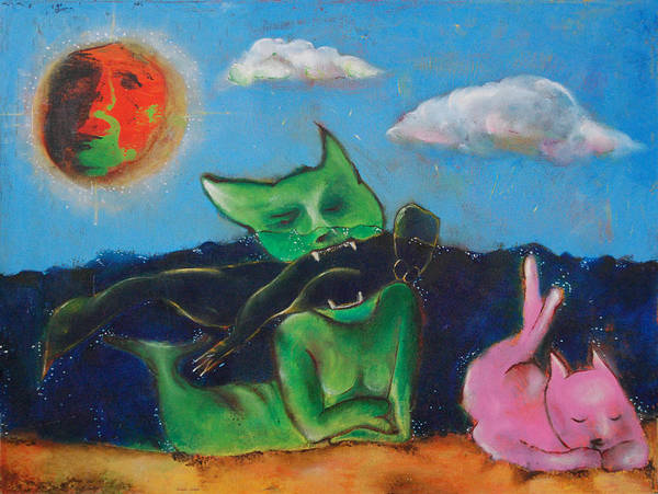 Cats Art Print featuring the painting Untitled by Abigail Lee Goldberger