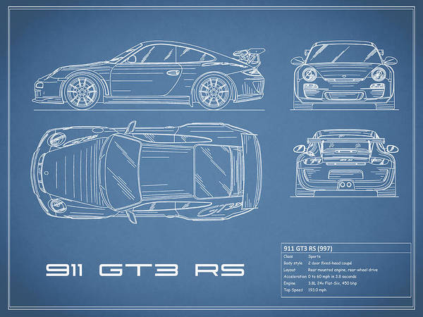 911 gt3 rs blueprint art print by mark rogan porsche 911 blueprint art print featuring the photograph 911 gt3 rs blueprint by mark rogan malvernweather Gallery