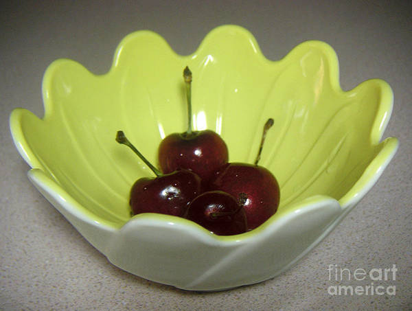 Nature Art Print featuring the photograph A Bowl Of Cherries by Lucyna A M Green