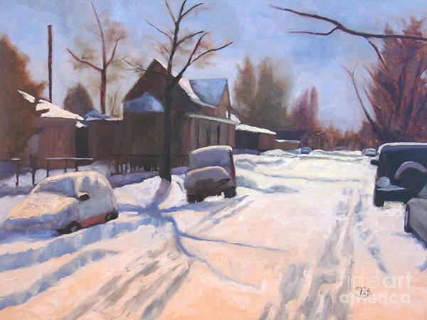 Snow Art Print featuring the painting A Christmas Snow by Tate Hamilton