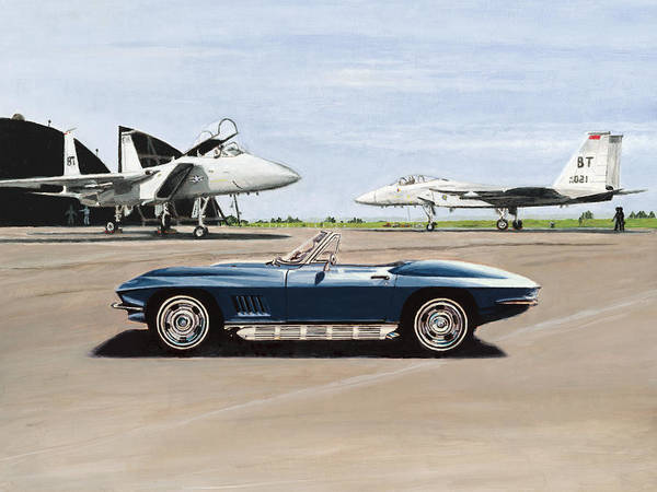 Corvette Art Print featuring the painting A Pilots Dream by Richard Herron