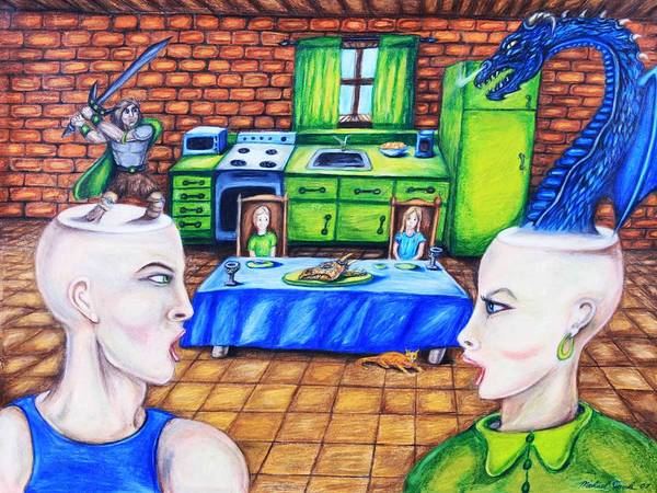Dragons Medieval Surreal Fantasy Art Print featuring the drawing A Royal Dispute by Michael Cook
