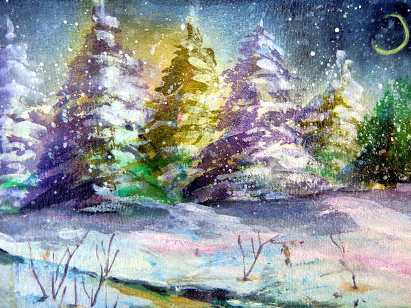 Christmas Print featuring the painting A Silent Night by Mindy Newman