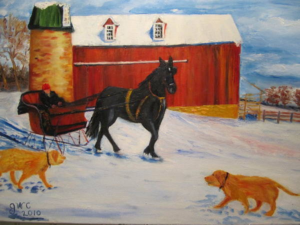 Horse Art Print featuring the painting A Snowy Sleigh Ride by Gloria Condon