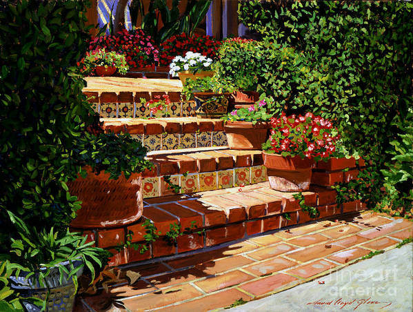 Patio Art Print featuring the painting A Spanish Garden by David Lloyd Glover