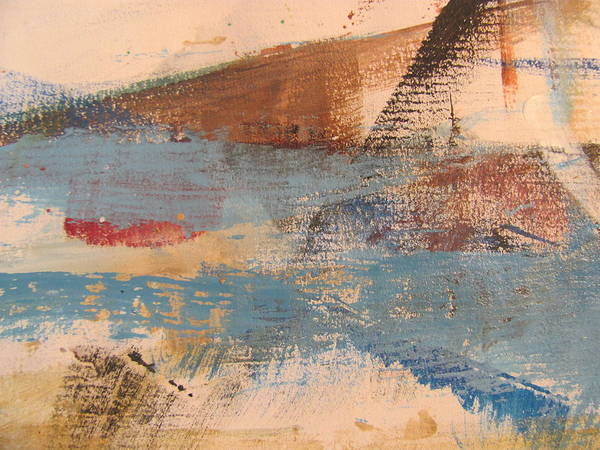 Abstract Art Print featuring the painting Abstract At Sea 2 by Anita Burgermeister
