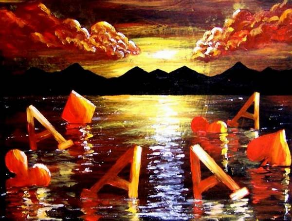 Poker Art Print featuring the painting Abstract Sunset Landscape Seascape Floating Aces Suits Poker Art Decor by Teo Alfonso