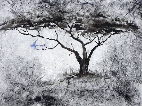 Landscape Art Print featuring the painting Acasia Tree by Ilona Petzer
