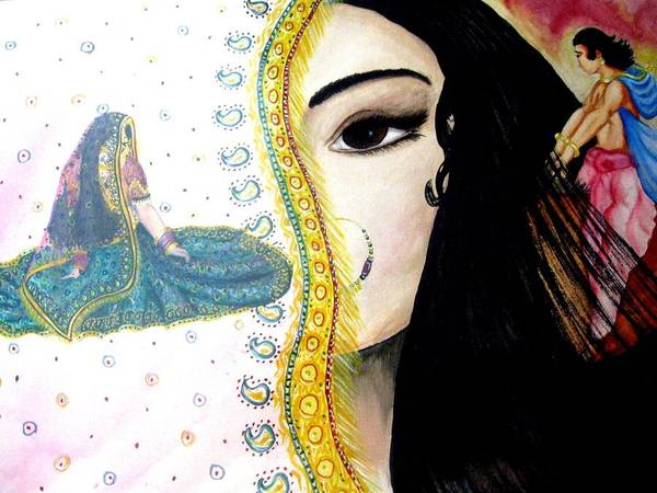 Couple Art Print featuring the painting Adoloscent Dream by Sujata Tibrewala