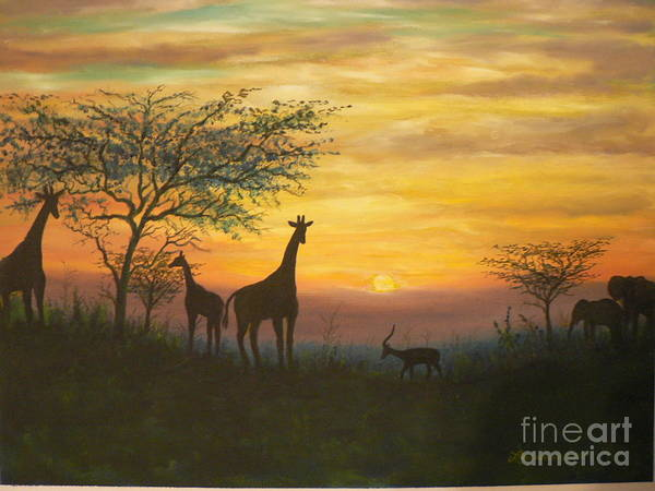 African Art Print featuring the painting African Sunset by Don Lindemann
