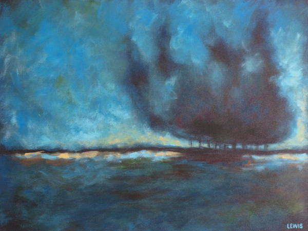 Blue Art Print featuring the painting After by Ellen Lewis