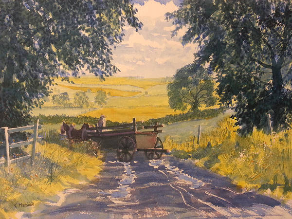 Glenn Marshall Yorkshire Artist Art Print featuring the painting After Rain On The Wolds Way by Glenn Marshall