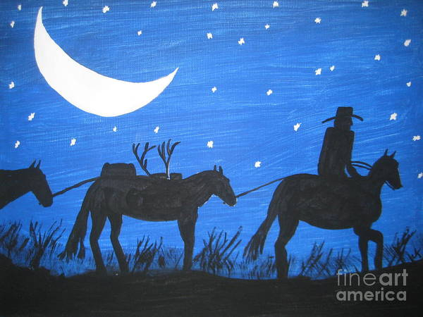 Blue Art Print featuring the painting After The Hunt by Jeffrey Koss
