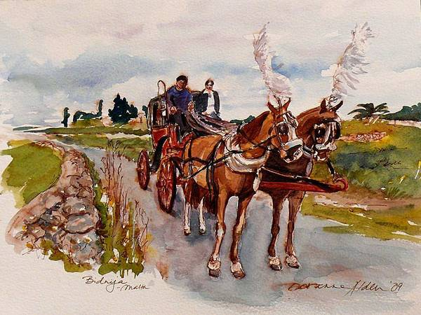 Landscape Art Print featuring the painting Afternoon Coachride by Doranne Alden