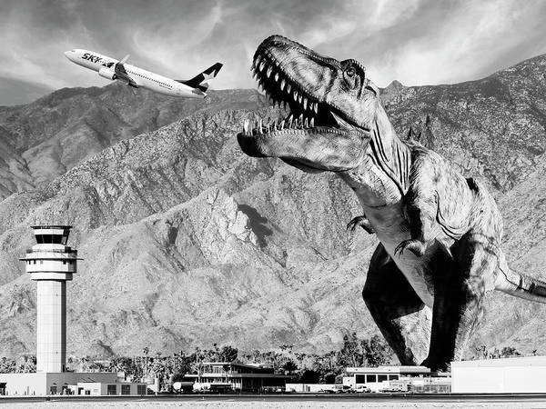 Dinosaur Art Print featuring the photograph Airplane Food Black And White by William Dey