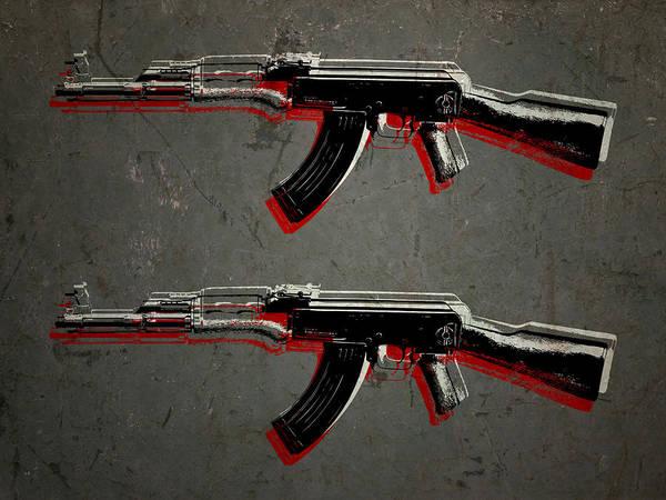 Ak47 Art Print featuring the digital art Ak47 Assault Rifle Pop Art by Michael Tompsett