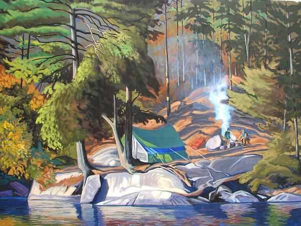 Landscape Art Print featuring the painting Algonquin Campsite by Paul Gauthier