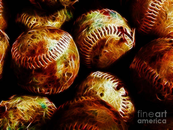 Baseball Art Print featuring the photograph All American Pastime - A Pile Of Fastballs - Electric Art by Wingsdomain Art and Photography