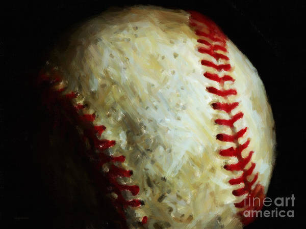 Baseball Art Print featuring the photograph All American Pastime - Baseball - Painterly by Wingsdomain Art and Photography