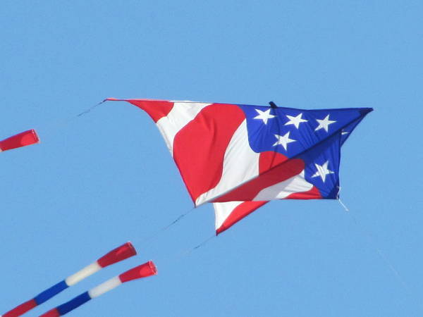 Kite Fyling Art Print featuring the photograph American Flag Kite by Gregory Smith