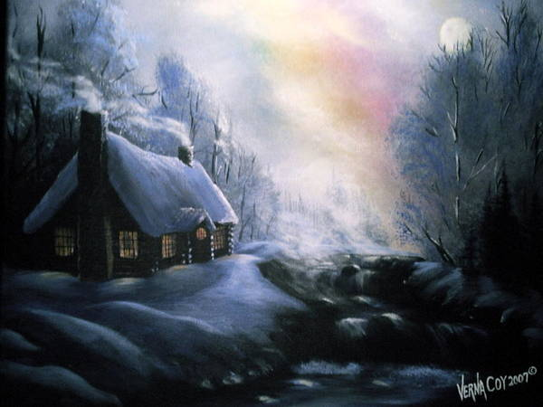 Alaska Alaskan Christmas Winter Cabin Scenery Art Print featuring the painting An Alaskan Night by Verna Coy