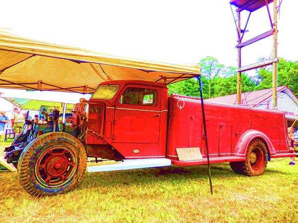 Antique Art Print featuring the painting An Antique Fire Department Vehicle On Display 1 by Jeelan Clark