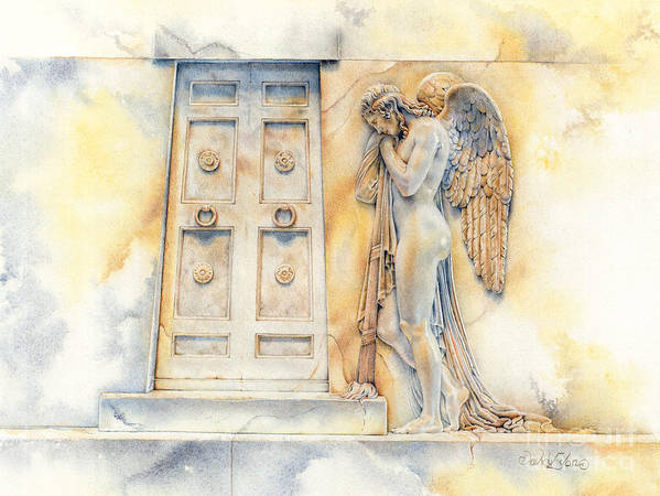 Rome St Peters Basilica Marble Statue Art Print featuring the drawing Angel At The Gate by David Evans
