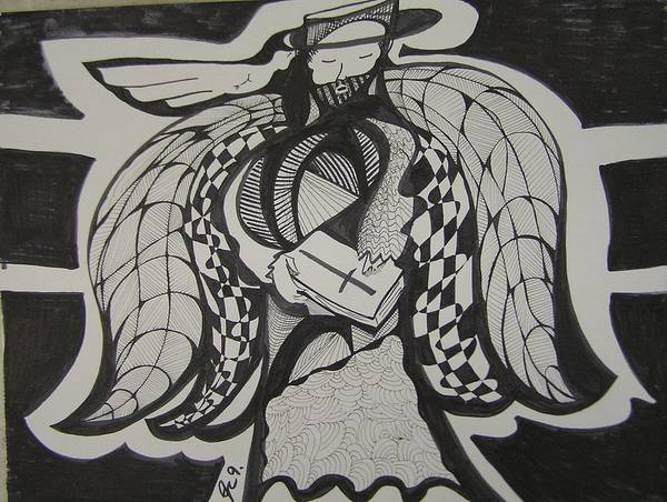 Angel Art Print featuring the drawing Angel Receiving Prayer by Jimmy King