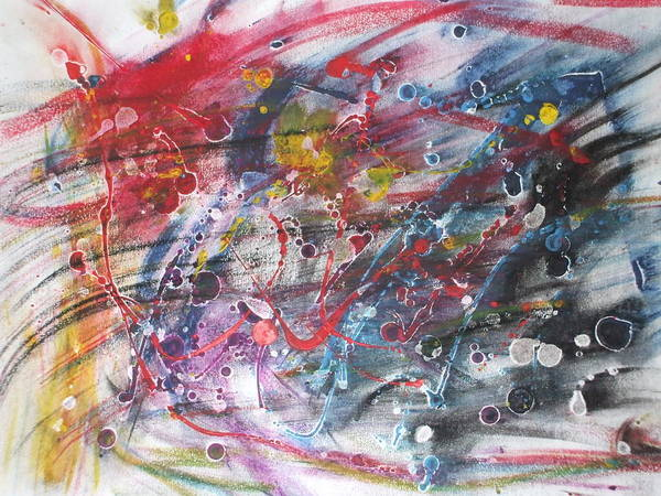 Abstract Art Print featuring the pastel Anger And Pain by Sam Persons