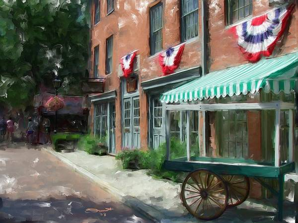Painting Street Oil New England Market Tourist Vendor Impressionism Massachusetts Antiques Art Print featuring the painting Another Day's End by Eddie Durrett