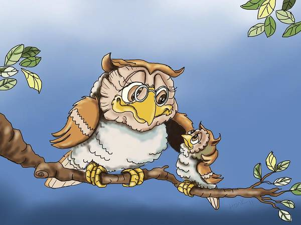 Owl Illustrations Art Print featuring the painting Another Story By Grandpa by Hank Nunes