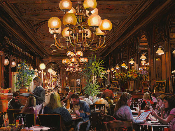 Brasserie Art Print featuring the painting Antica Brasserie by Guido Borelli